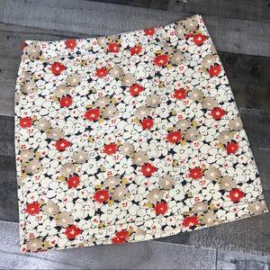 Ann Taylor LOFT Cream Red Floral Skirt Size 10